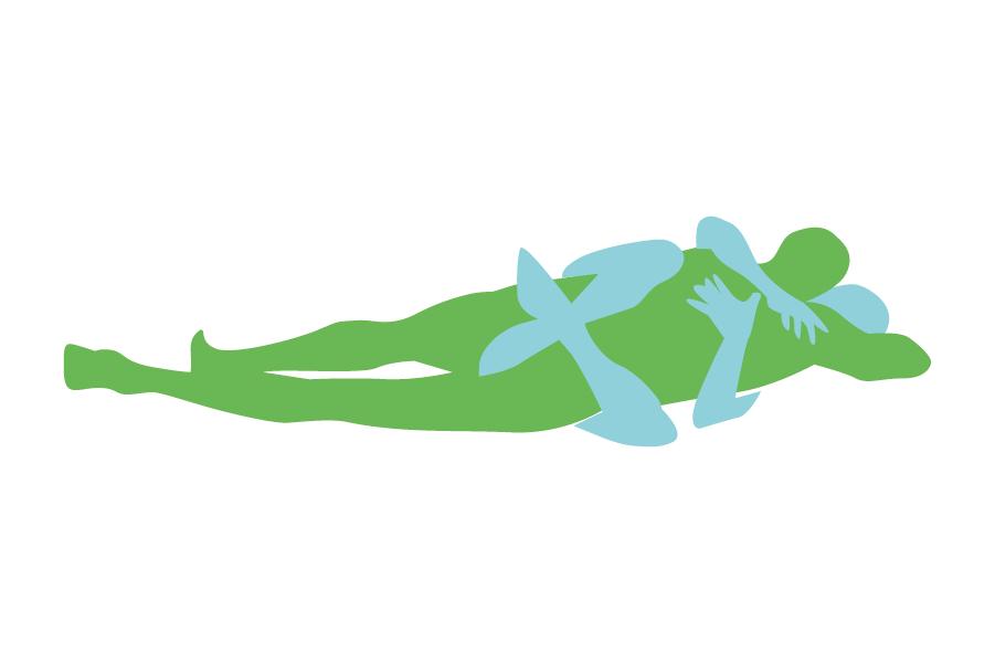 Postura sexual on la dona rodeja a l'home amb les cames i braços